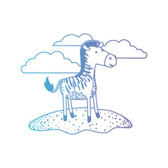 zebra cartoon in outdoor scene with clouds in degraded blue to purple color silhouette vector illustration