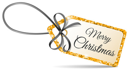 Wall Mural - Merry christmas tag with golden glitter and black ribbon