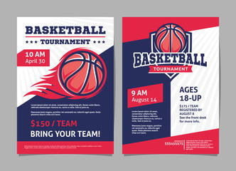 Basketball tournament posters, flyer with basketball ball - template vector design Wall mural