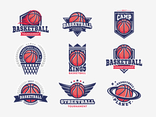 Basketball logo, emblem set collections, designs templates on a light background