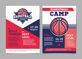 Basketball camp posters, flyer with basketball ball - template vector design Wall mural