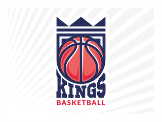 Basketball kings team logo, emblem, designs with crown, shield and basketball ball on a light background
