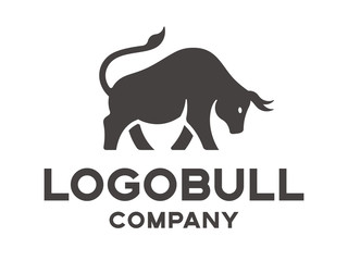 Bull's silhouette - logotype, illustration on a white background