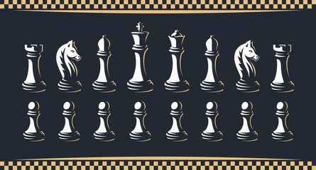 Chess figure set - vector illustration, on a dark background