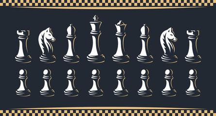 Chess figure set - vector illustration, on a dark background