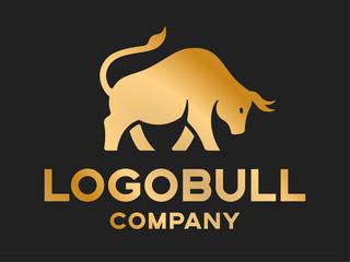 Bull's silhouette - logotype, illustration on a dark background