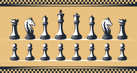 Chess figure set - vector illustration, on a gold background