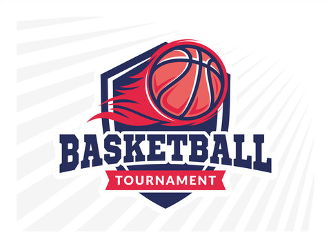 Basketball tournament logo, emblem, designs with basketball ball, flame and shield on a light background