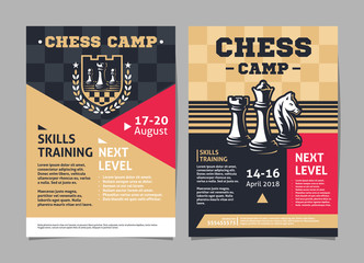 Chess camp posters, flyer with chess figures - template vector design
