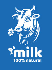 Cow natural milk illustration - head of a horned cow with a bell - emblem, logo design
