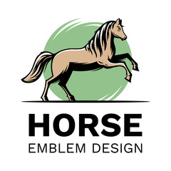 The figure of a horse in motion - emblem, illustration. logotype on a white background