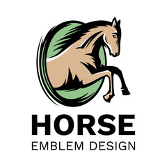 The horse jumps out of the oval - emblem, illustration. logotype on a white background