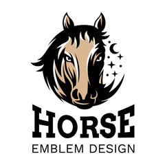 The head of a horse in the form of a circle - emblem, illustration. logotype on a white background
