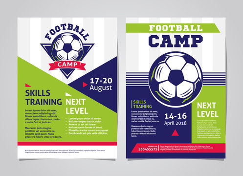 Football, soccer camp posters, flyer with football ball - template vector design