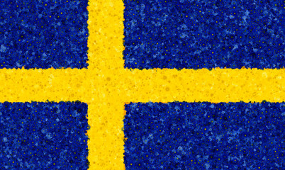 Illustraion of Swedish Flag with a blossom pattern