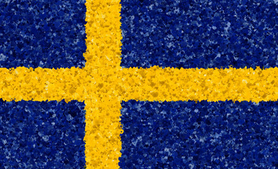 Illustraion of Swedish Flag with a heart pattern