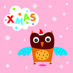 cute owl merry christmas greeting card