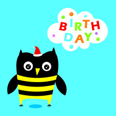 cute owl happy birthday greeting vector