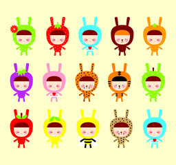 cute children cartoon with bunny costume vector