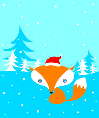 cute fox merry christmas greeting