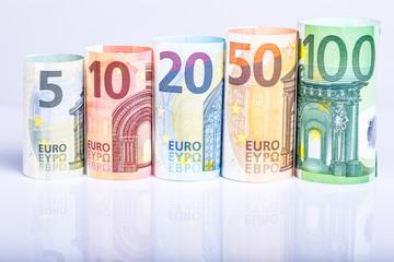 Geldrollen, Banknoten, Euro