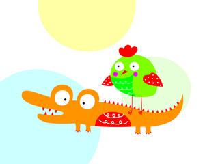 cute crocodile and bird cartoon vector