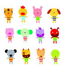 cute chinese horoscope animals cartoon vector