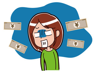 お金で悩む女性のイラスト