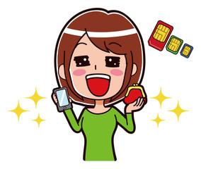 SIMカードと喜ぶ女性のイラスト