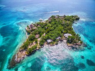 Aerial view of Isla del Pirata at Rosario Islands (Islas del Rosario) off the coast of Cartagena de Indias, Colombia.