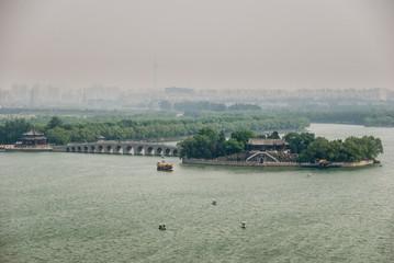 Lake island with pedestrian bridge, Beijing, China