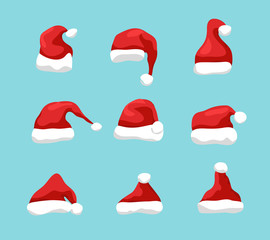 Santa hat vector christmas design. New Year santa claus hat design for holiday celebration