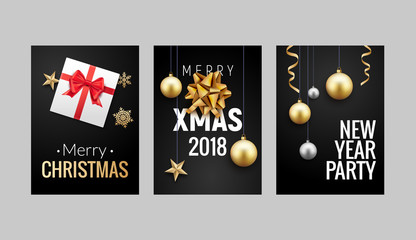 New Year Christmas greeting card background flyer or brochure design. Christmas holiday banner decoration