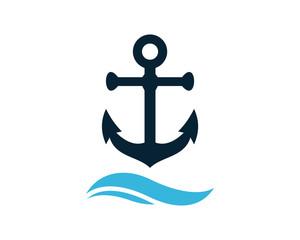Anchor above the Wave Water Ocean Logo Symbol