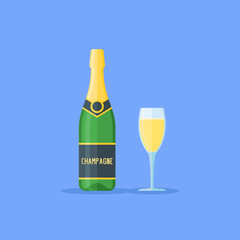 Bottle and glass of champagne isolated on blue background. Flat style vector illustration.