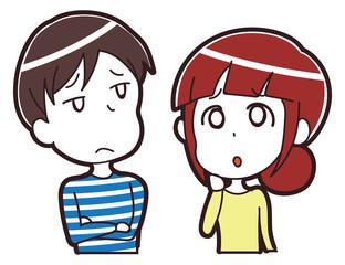 悩みを抱えるカップルのイラスト