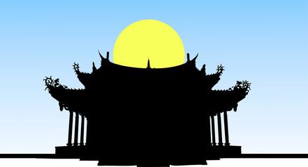 夜のお寺のシルエット