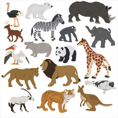Collection of African animals on a white background