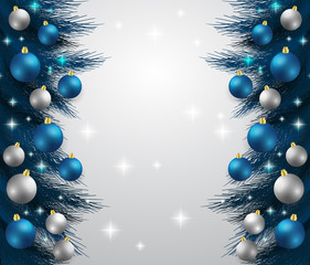 Merry Christmas,New year card and glitter decoration. blue and white background with  christmas balls.illustration.