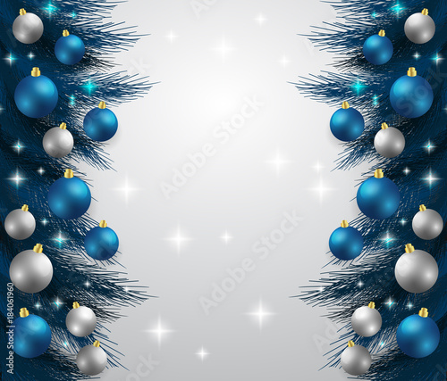 Merry Christmas,New year card and glitter decoration. blue and white ...