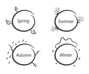 Message frames nature seasons spring summer autumn winter