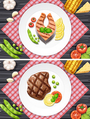 Salmon and beef steak on the plates