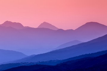 sunrise and mountain ranges