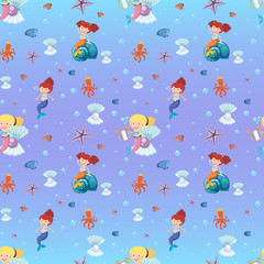 Seamless background with mermaid and sea animals