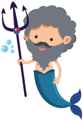 Male mermaid with trident
