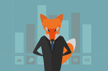Vector Illustration. The Fox as Manager in Dark Suit with Column Graph with Icons (Men, Women, the Earth, ...) on the Background. Usable for Brochures, Infographic, Corporate Graphic etc. Flat Design.