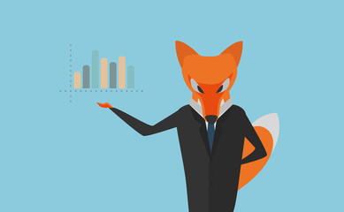 Vector Illustration. The Fox as Manager in Dark Suit Presenting a Column Graph. Usable for Brochures, Infographic, Corporate Graphic etc. Flat Design.