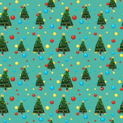 Seamless background template with christmas tree