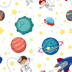 Seamless background template with astronauts and planets