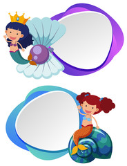 Two border templates with cute mermaid